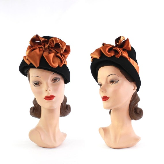 1930s Black Hat with Orange Satin Bows - 1930s Til
