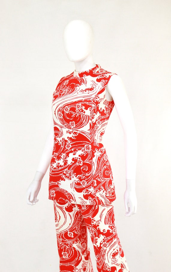 1960s Wave Novelty Print Pant Suit - 1960s Honeym… - image 5