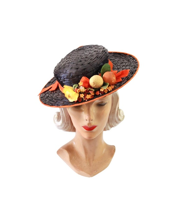 1940s Autumn Boater Hat - 1940s Navy Blue Hat - 1… - image 3