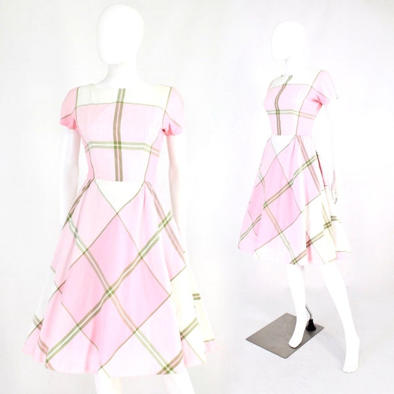 1950s Pink & Green Plaid Day Dress - 1950s Pink Dr