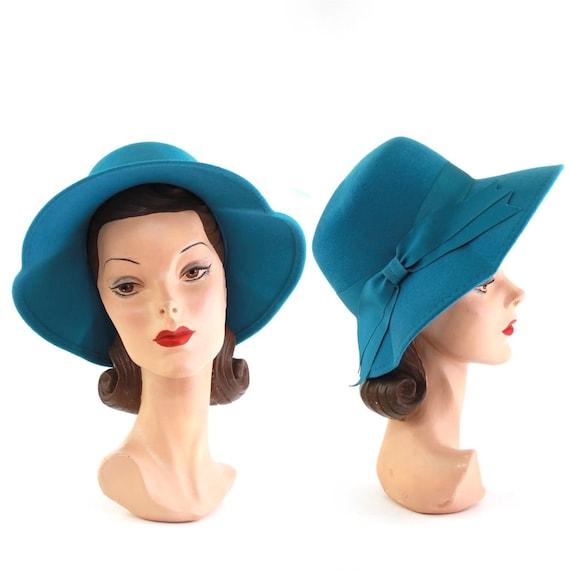 1960s Teal Fedora - 1960s Mod Hat - Vintage Teal H