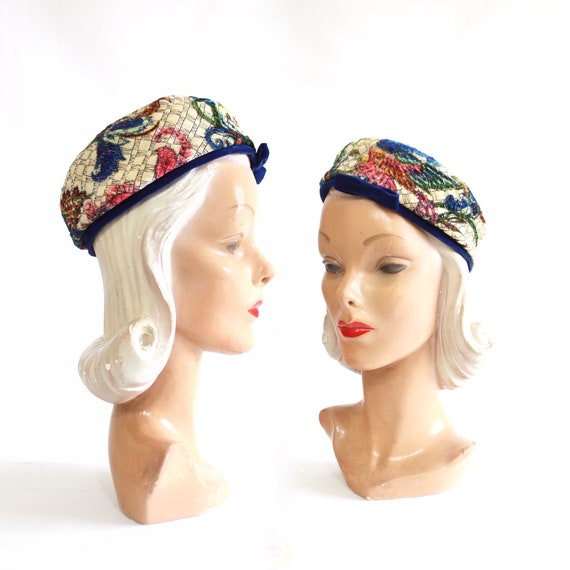 1960s Rainbow Floral Pillbox Beret - 1960s Floral