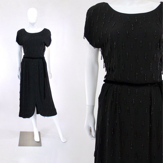 1950s Beaded Fringe Cocktail Dress - 1950s Evening