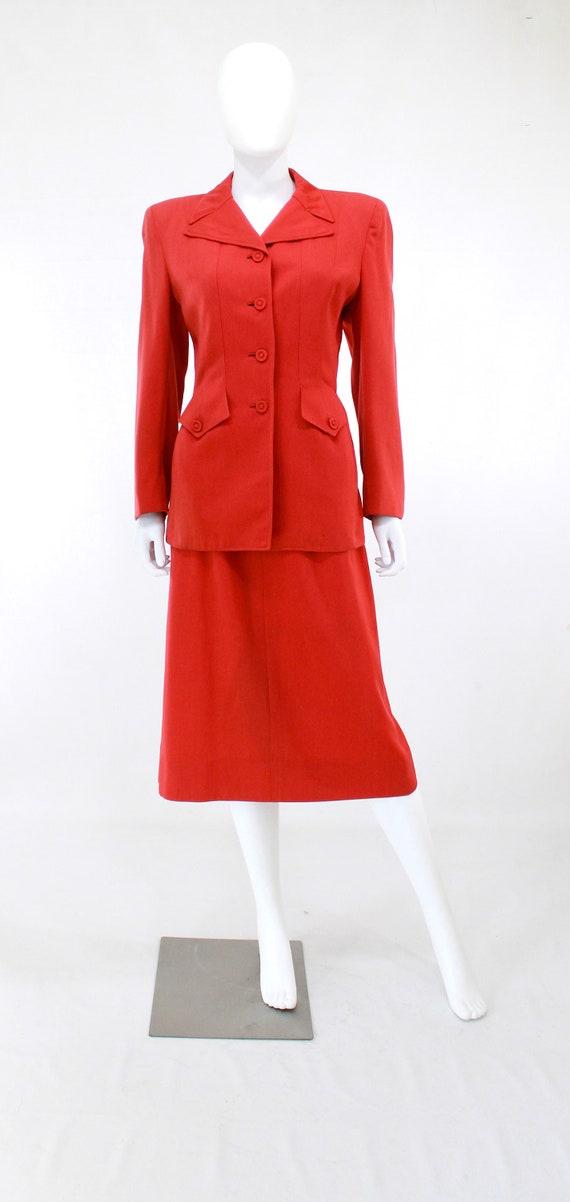 1940s True Red Wool Gab Suit - 1940s Red Suit - 1… - image 5