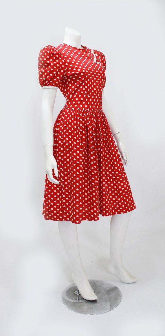 1930s Polka Dot Dress - 1930s Puff Sleeve Dress -… - image 6