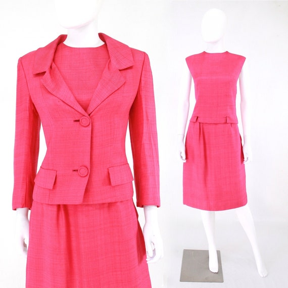 1960s Pink Linen Three Piece Suit - 1960s Pink Sui