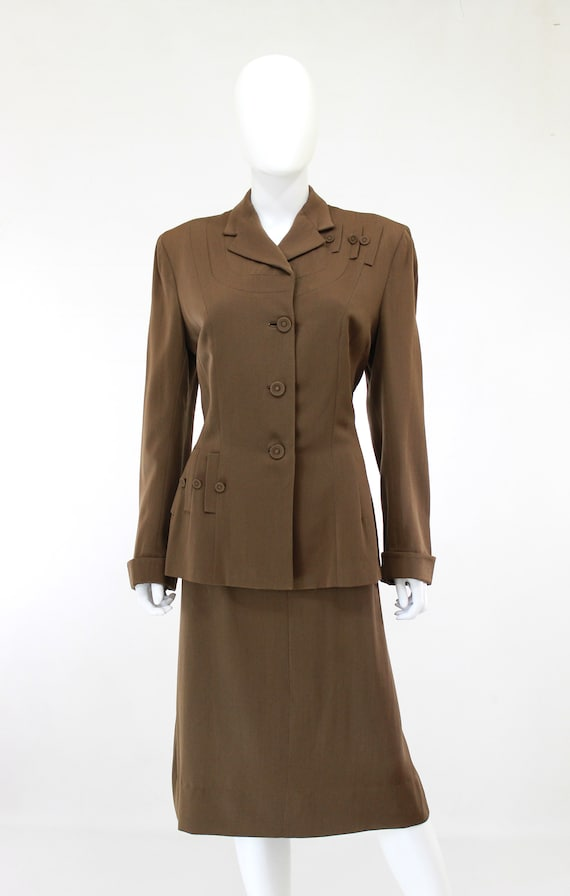 RESERVED | 1940s Womens Brown Suit - 1940s Brown … - image 3