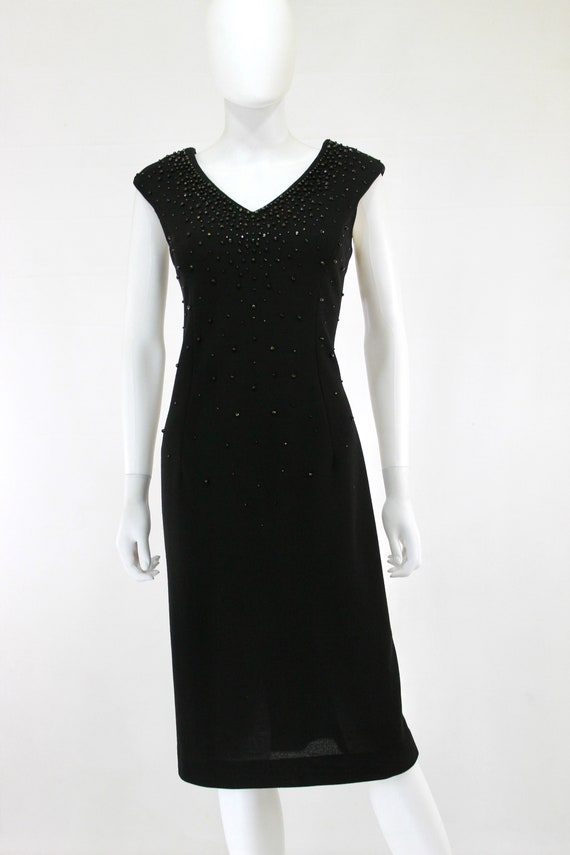 1950s Black Wiggle Dress - 1950s Studded Dress - … - image 2