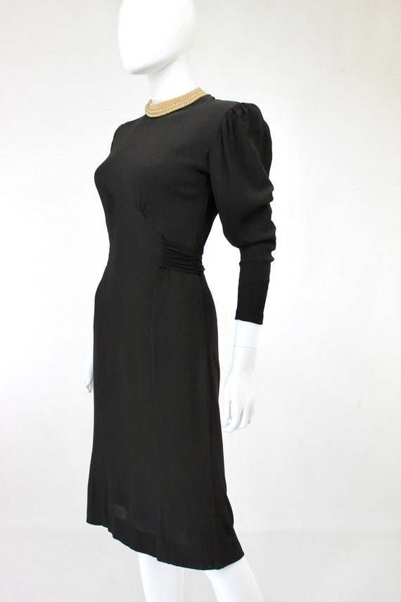 Late 1930s Black Crepe Dress with Pearl Collar - … - image 6