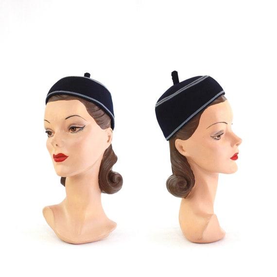 1940s Navy Blue Pillbox Hat - 1940s Navy Blue Hat