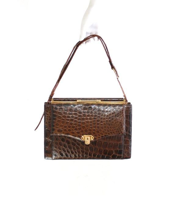 1940s Alligator Handbag with Shoulder Strap - 1940