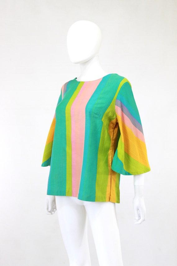 1960s Rainbow Tunic Blouse - 1960s Angel Sleeves … - image 5