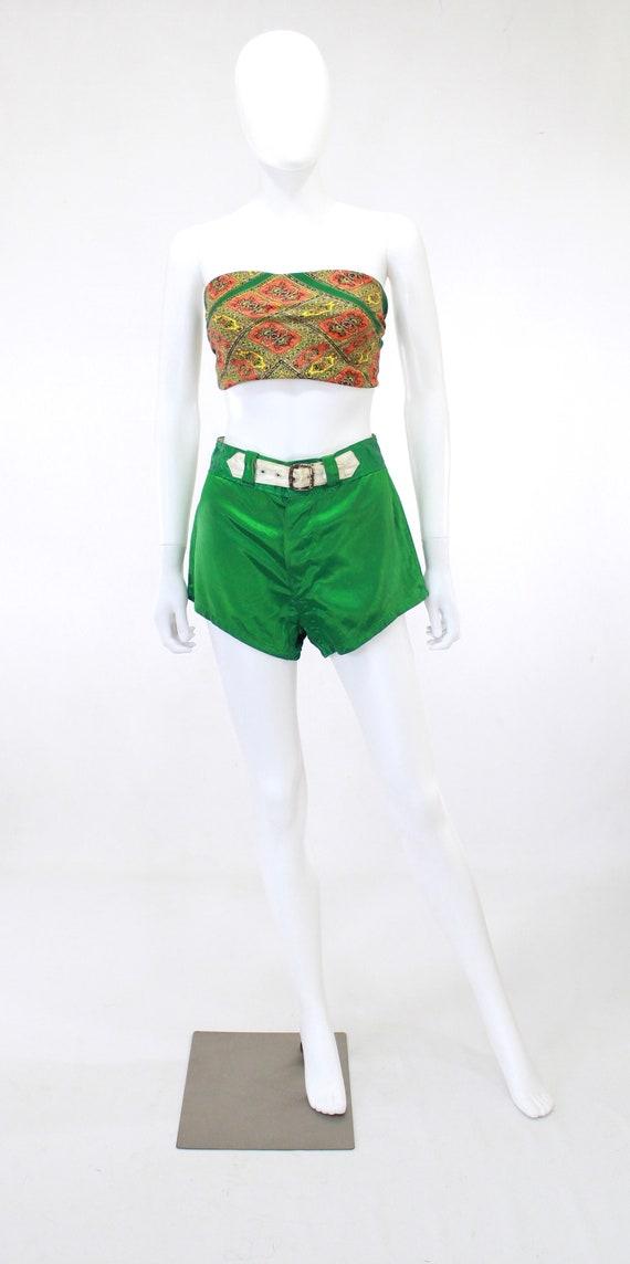 1940s Satin Shorts - 1940s Green Satin Shorts - 1… - image 4