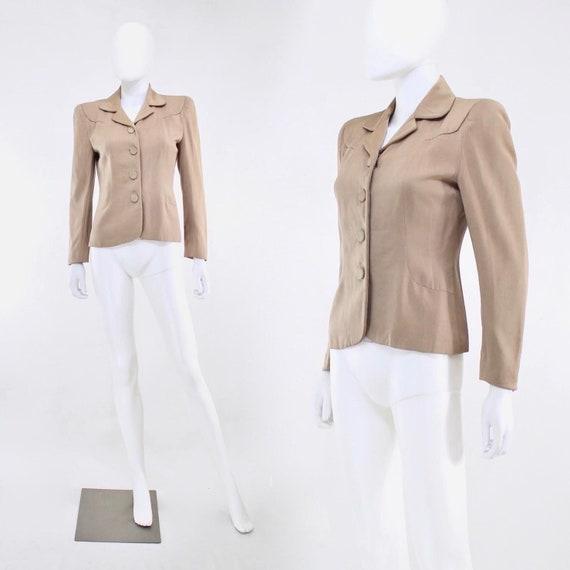1940s Taupe Gabardine Jacket - 1940s Gabardine Ja… - image 1