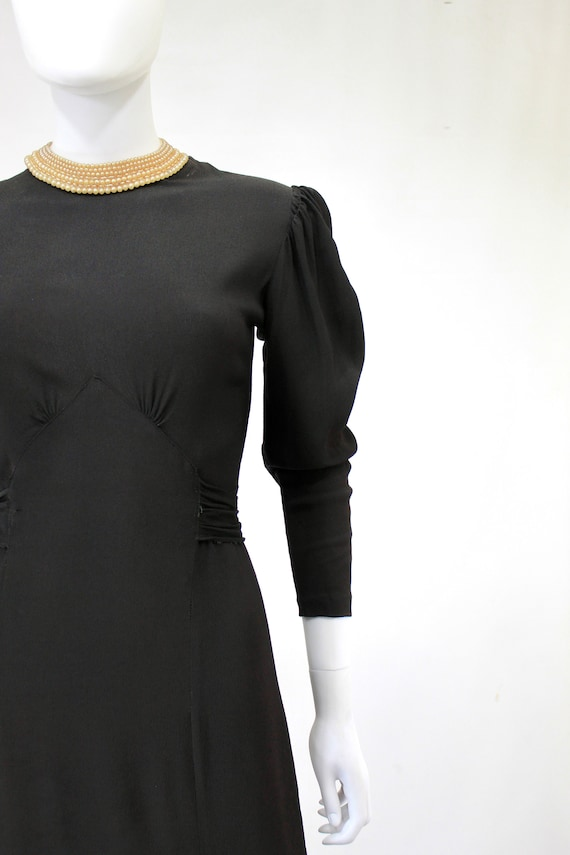 Late 1930s Black Crepe Dress with Pearl Collar - … - image 3