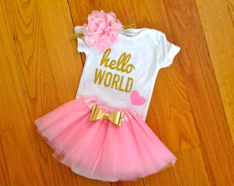 HELLO WORLD Newborn Outfit, Newborn Girl Take Home Outfit, Coming Home Outfit, Gold Glitter, Baby Girl Outfit, Hello World, Photo Outfit