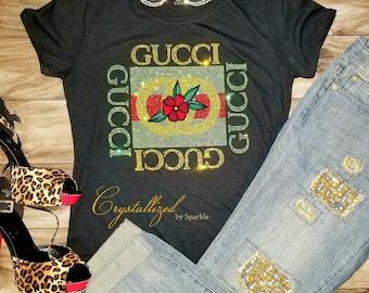50b4c84f8 Sparkle Gucci Inspired Crystallized Designer Inspired Bling Bling Rhinestone  Unisex T-Shirt PLEASE READ DESCRIPTION
