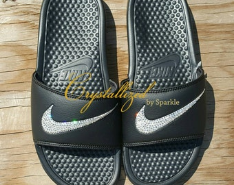 5ced290457b6e8 Nike Benassi Slides Bling Sandals Adorned with Swarovski® Crystals (Men s Sizes  Only)