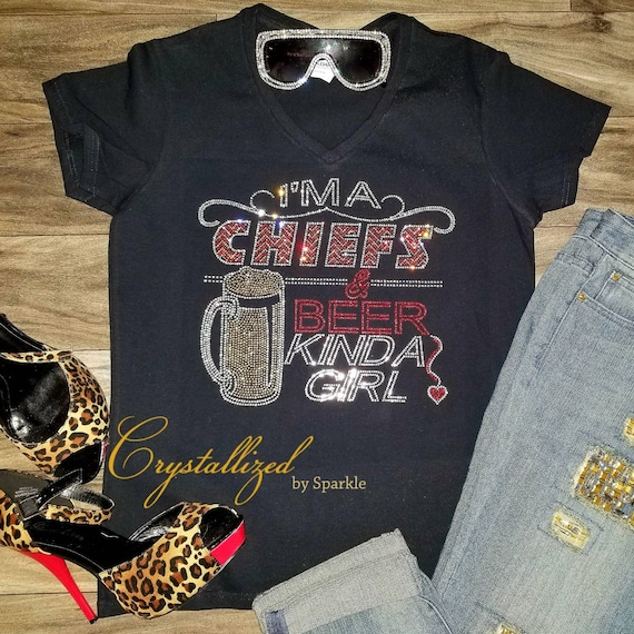 a9d5fce95 Crystallized Chiefs and Beer Bling Bling Rhinestone T Shirt | Etsy