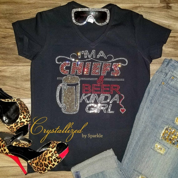 3255e0f6 Crystallized Chiefs and Beer Bling Bling Rhinestone T Shirt