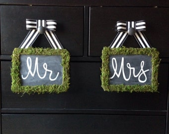 Moss Covered Chalk Board with Grosgrain Ribbon Trim
