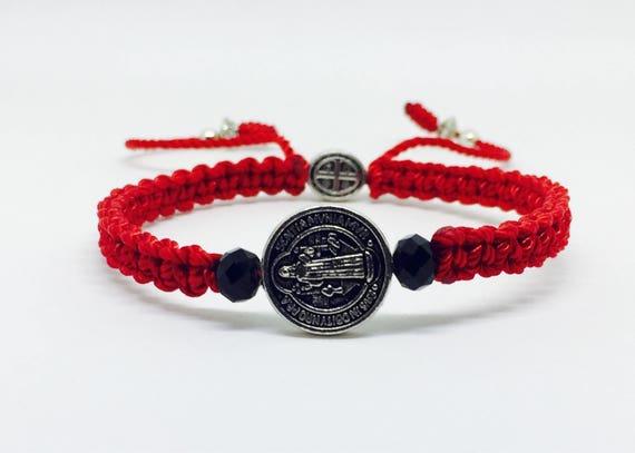 1a3a7cdca414 Pulsera Roja de La Medalla de San Benito para Hombre y Mujer