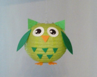 Green OWL Paper Lantern. Party Decorations, Baby Shower, Room Decor, nursery decor.
