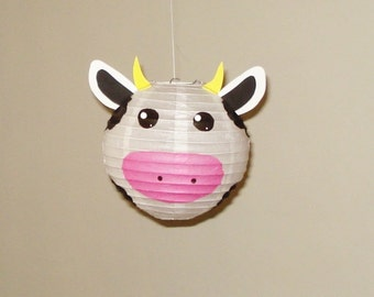 "Cow Paper Lantern, 8"". Room Decor. Baby Shower. First Birthday, nursery decor. Farm Party. 8 inches"