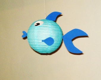 Light Blue fish Paper Lantern. Party Decorations, Baby Shower, Room Decor, nursery decor.