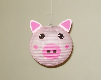 "Pig Paper Lantern, 8"". Room Decor. Baby Shower. First Birthday, nursery decor. Farm Party"