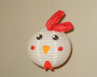 "Rooster Paper Lantern, 8"". Room Decor. Baby Shower. First Birthday, nursery decor. Farm Party"