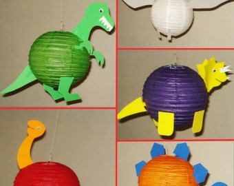 Dinosaur paper lanterns. Party Decorations, Baby Shower, Room Decor, nursery decor.
