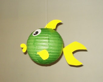 green  fish Paper Lantern. Party Decorations, Baby Shower, Room Decor, nursery decor.