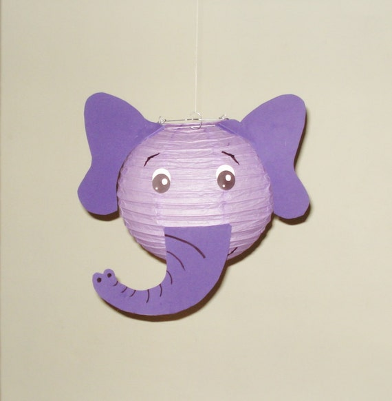 Purple Elephant Paper Lantern Safari Party Decorations Baby Etsy