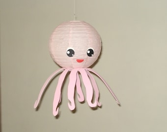 pink octopus Paper Lantern.  Party Decorations, Baby Shower, Room Decor, nursery decor.