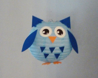 Blue OWL Paper Lantern. Party Decorations, Baby Shower, Room Decor, nursery decor.