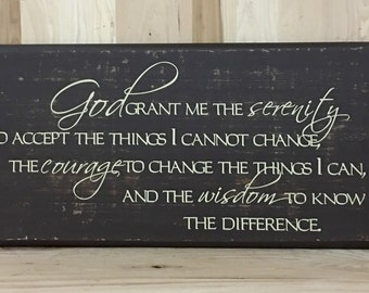 Serenity prayer wood sign, Christian wall art, religious gift, confirmation gift, custom wooden sign, inspirational sign