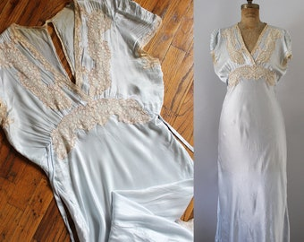 1940s Nightgown   Vintage 30s 40s Satin Nightgown   L 3d98f9805