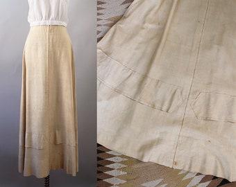 1910s Silk Skirt / Vintage Antique Edwardian Pongee Silk Maxi Skirt / S