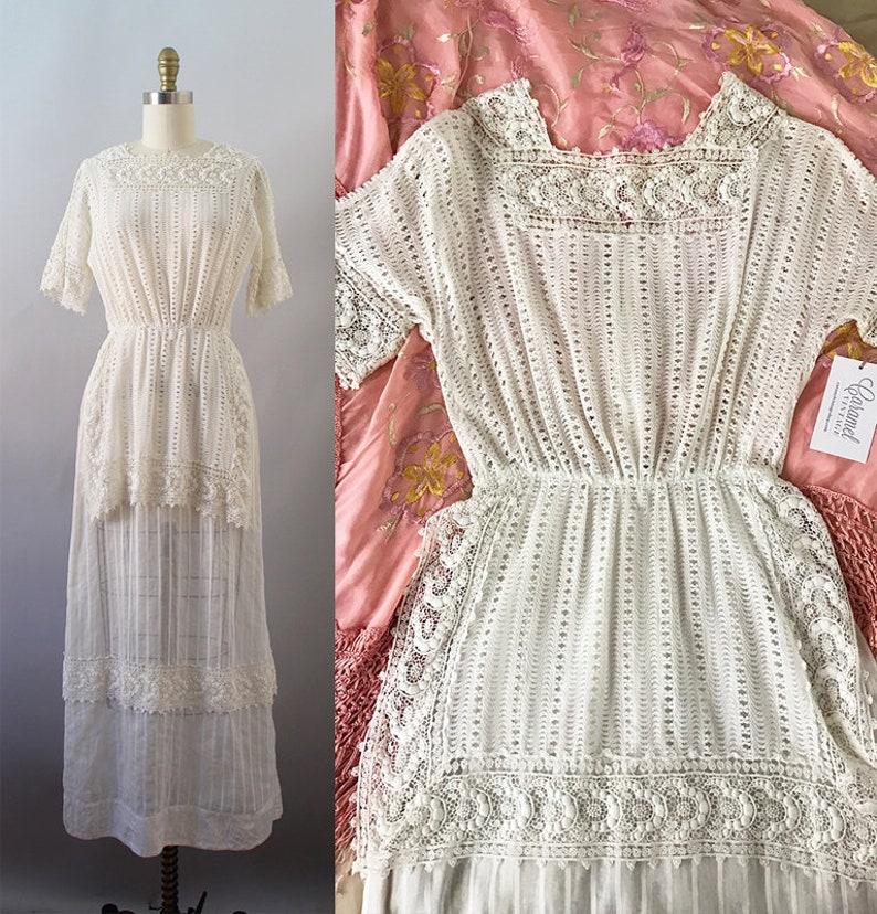 aa092579bd Edwardian Lawn Dress / Antique 1900s Cotton Dress / XS   Etsy