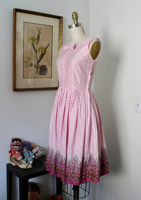 1950s Sundress / Vintage 50s Floral Print Dress /… - image 5
