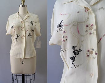 RESERVED 1940s Painted Blouse / Vintage 40s Poodle Print Top / M