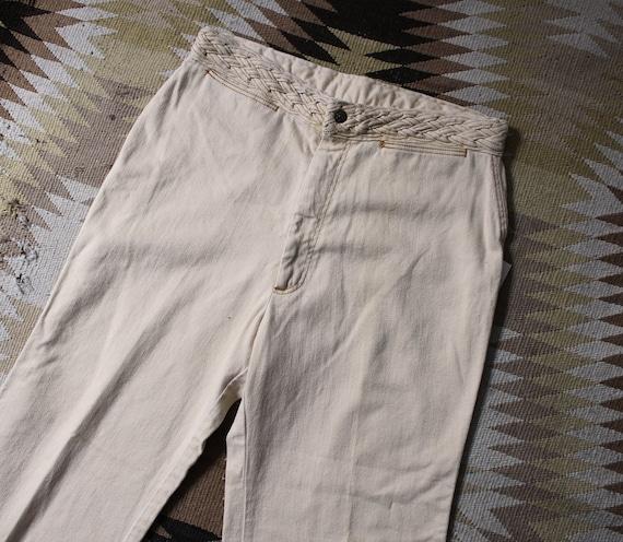 1970s Pants / Vintage 70s Tan Cotton Pants / L