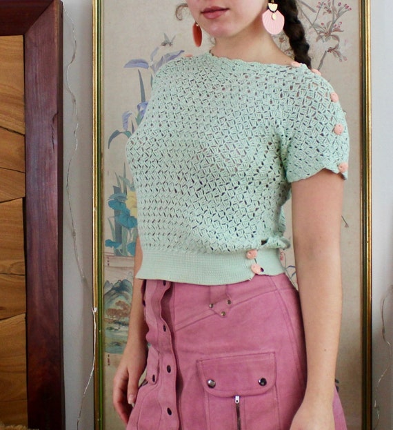 1930s Crochet Top / Vintage 30s Knit Sweater / XS