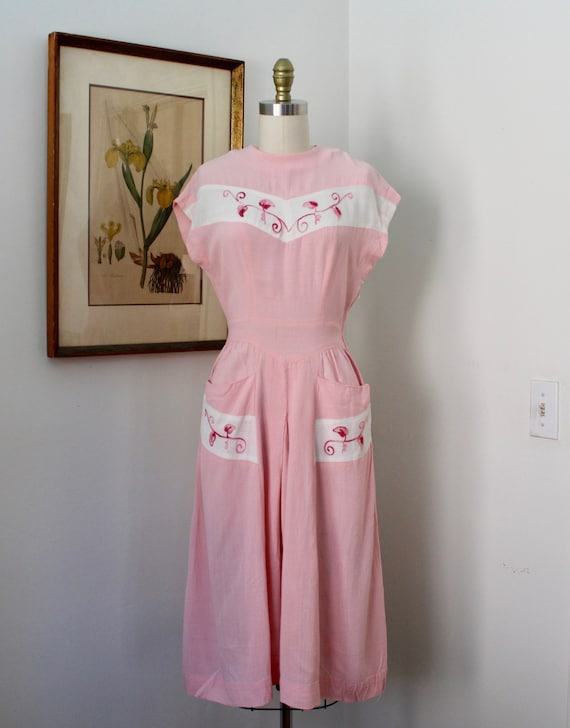 1940s Linen Dress / Vintage 40s Pink and White Lin