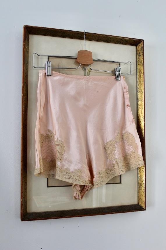 1930s Silk Tap Pants /  Vintage 30s 40s Lace Panti