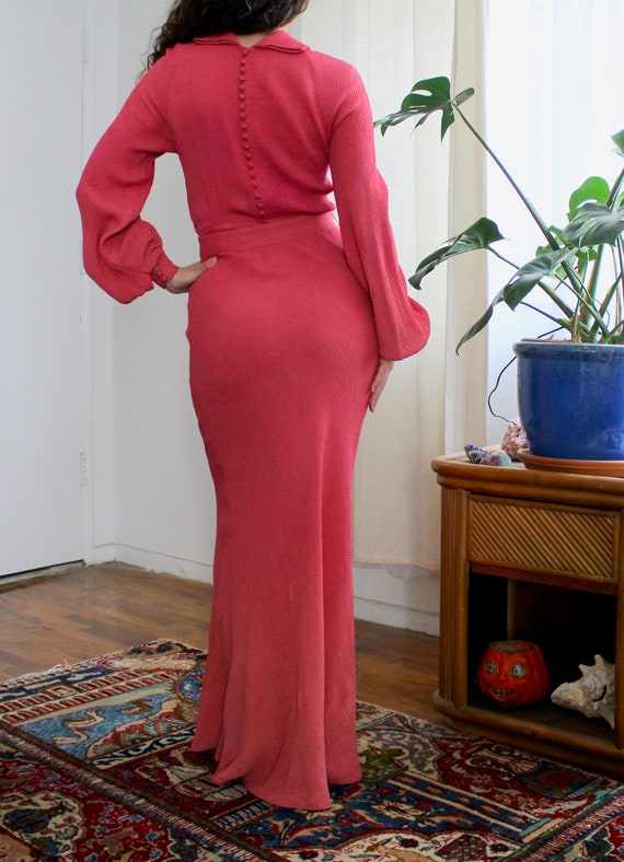 1930s Rayon Gown / Vintage 30s Rayon Crepe Dress /