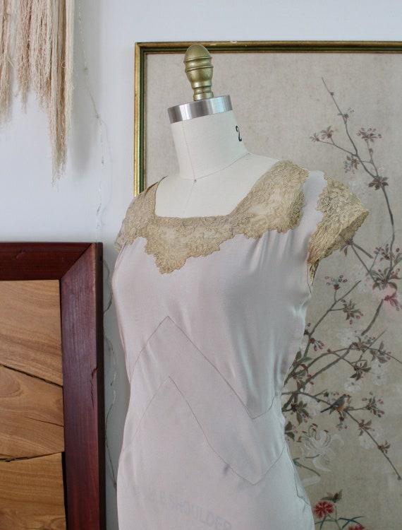1930s Silk Dress / Vintage 30s Dress / XS
