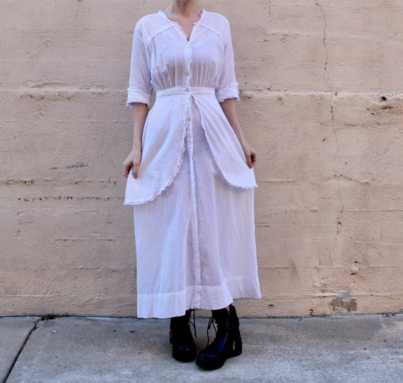 Edwardian Lawn Dress / Antique 1910s Cotton Dress