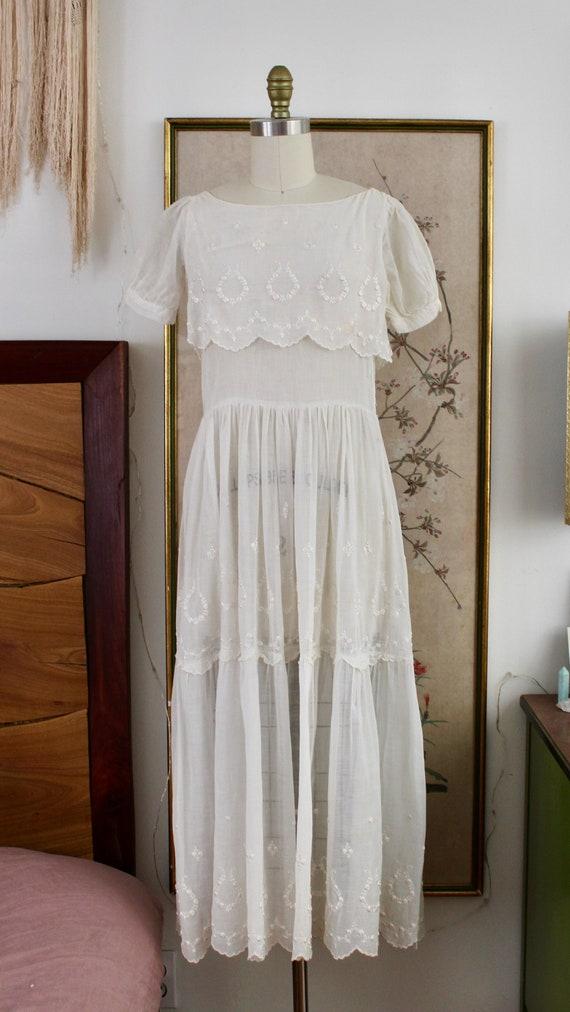 1920s Cotton Dress / Vintage Antique 1910s 20s Dre